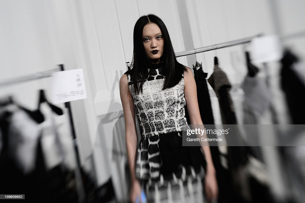A general view backstage at Irina Schrotter Autumn/Winter 2013/14 fashion show during Mercedes-Benz Fashion Week Berlin at Brandenburg Gate on January 18, 2013 in Berlin, Germany.