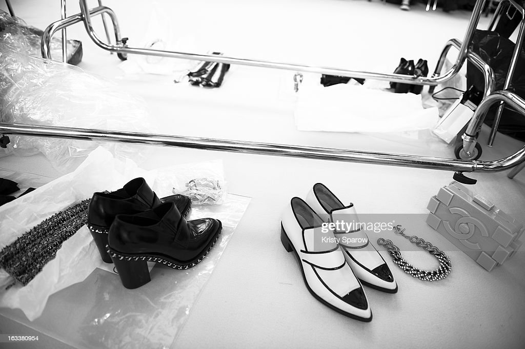 A general view backstage before the Chanel Fall/Winter 2013/14 Ready-to-Wear show as part of Paris Fashion Week at Grand Palais on March 5, 2013 in Paris, France.