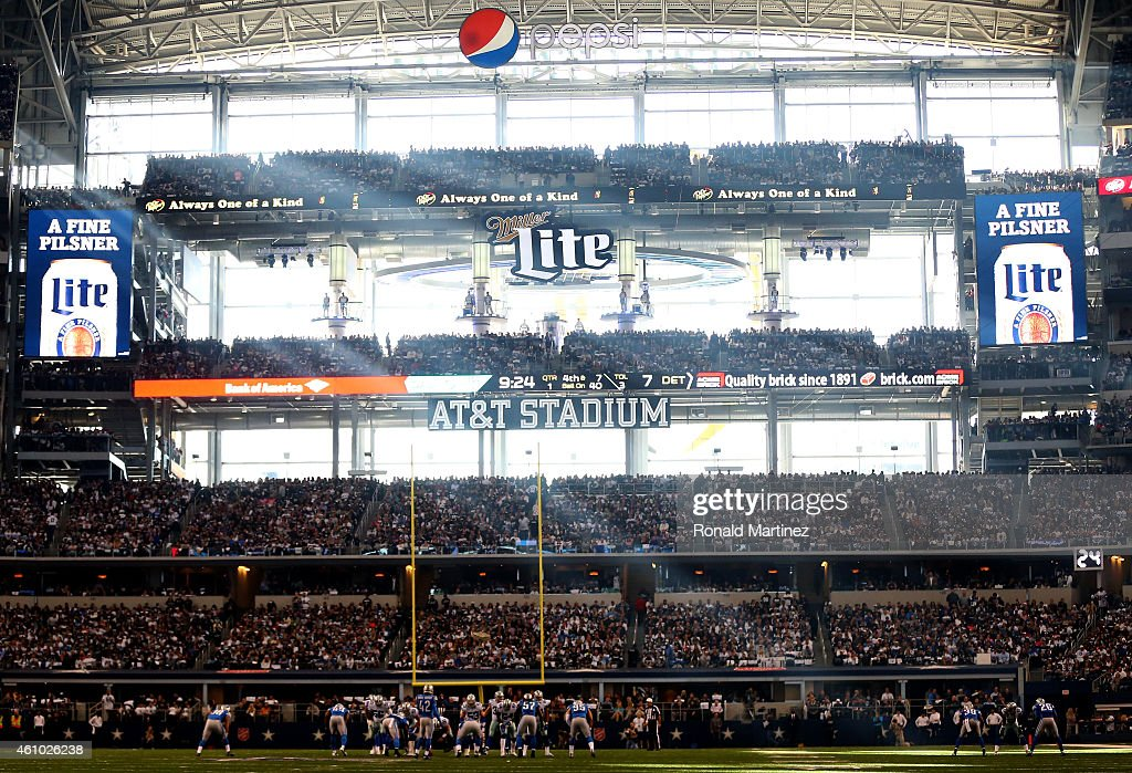 A general view before a punt between the Dallas Cowboys and the Detroit Lions in the first half during the NFC Wildcard Playoff Game at ATT Stadium...