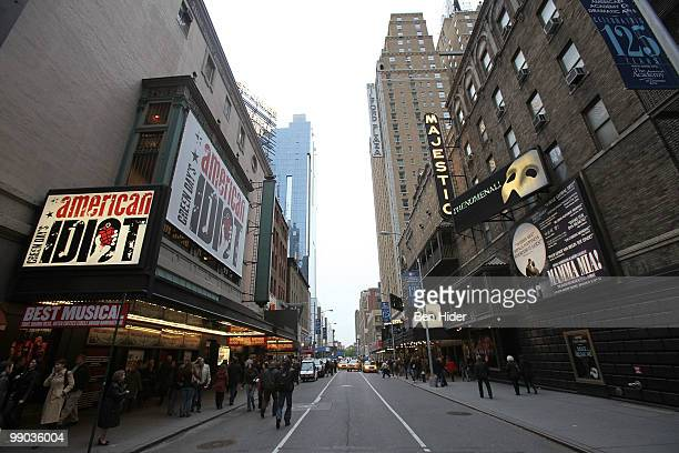A general view before Broadway theatres dim their lights in memory of Lena Horne on May 11 2010 in New York City