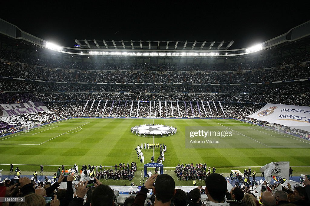 A general view before of the UEFA Champions League Round of 16 first leg match between Real Madrid and Manchester United at Estadio Santiago Bernabeu on February 13, 2013 in Madrid, Spain.