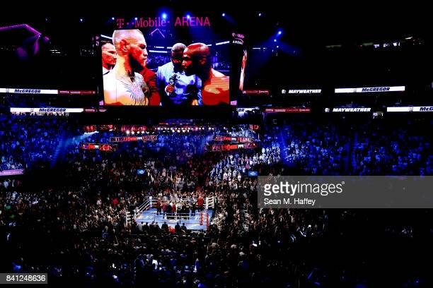 A general view before the Floyd Mayweather Jr and Conor McGregor super welterweight boxing match on August 26 2017 at TMobile Arena in Las Vegas...