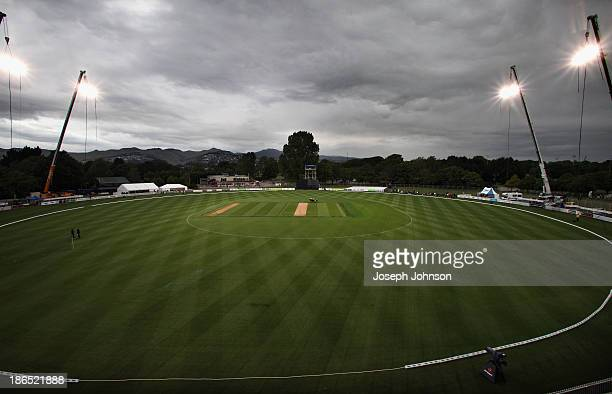 A general view before the HRV Twenty20 match between the Canterbury Wizards and Central Stags on November 1 2013 in Christchurch New Zealand Hagley...