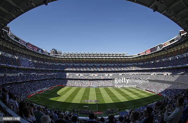 A general view before the La Liga match between Real Madrid CF and Granada CF at Estadio Santiago Bernabeu on April 5 2015 in Madrid Spain