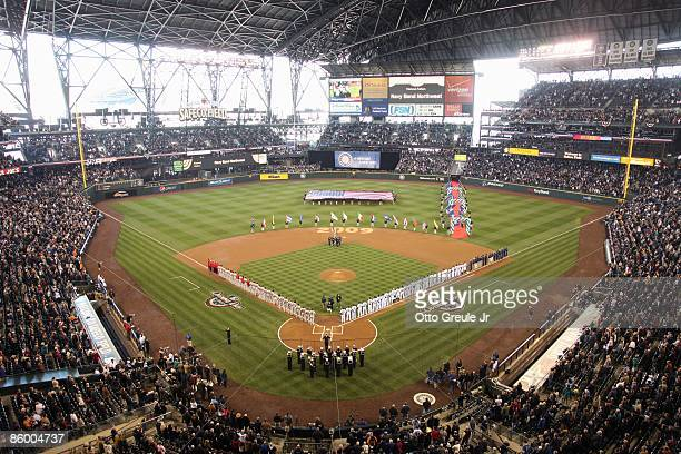 A general view before the Los Angeles Angels of Anaheim and the Seattle Mariners Opening Day Major League Baseball game on April 14 2009 at Safeco...