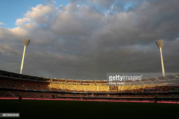 General view before the round two AFL match between the Brisbane Lions and the Essendon Bombers at The Gabba on April 1 2017 in Brisbane Australia