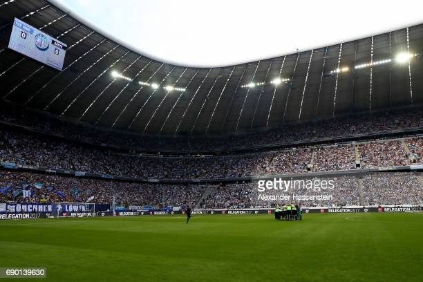 A general view before the Second Bundesliga Playoff second leg match betweenTSV 1860 Muenchen and Jahn Regensburg at Allianz Arena on May 30 2017 in...