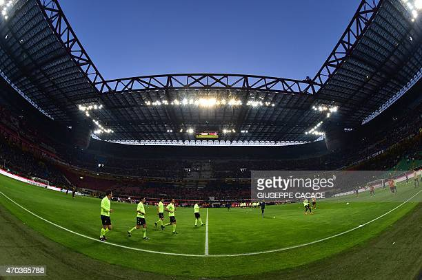 A general view before the start of the Serie A football match Inter Milan vs AC Milan at the San Siro Stadium in Milan on April 19 2015 AFP PHOTO /...