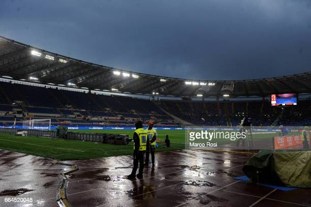 General view before the TIM Cup match between AS Roma and SS Lazio at Stadio Olimpico on April 4 2017 in Rome Italy