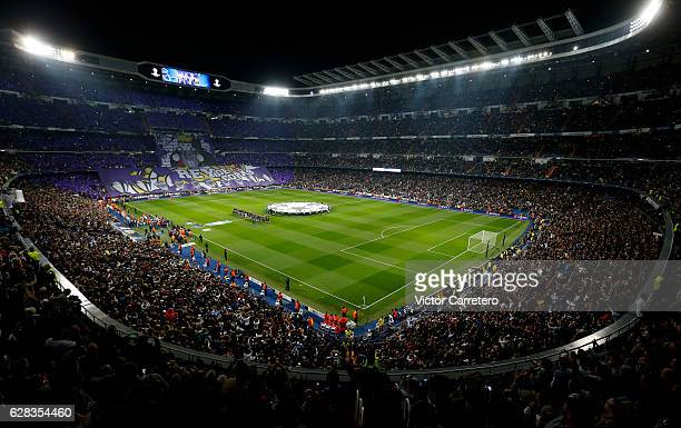 A general view before the UEFA Champions League Group F match between Real Madrid CF and Borussia Dortmund at the Bernabeu on December 7 2016 in...