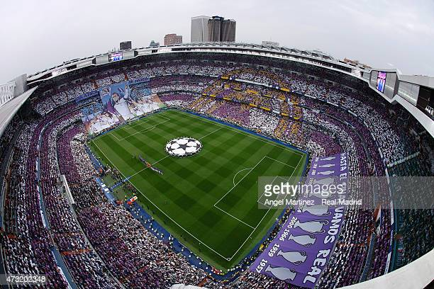 A general view before the UEFA Champions League semi final second leg match between Real Madrid CF and Juventus at Estadio Santiago Bernabeu on May...