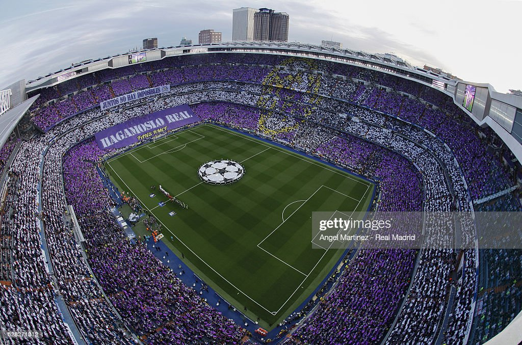 A general view before the UEFA Champions League Semi Final second leg match between Real Madrid and Manchester City FC at Estadio Santiago Bernabeu on May 4, 2016 in Madrid, Spain.