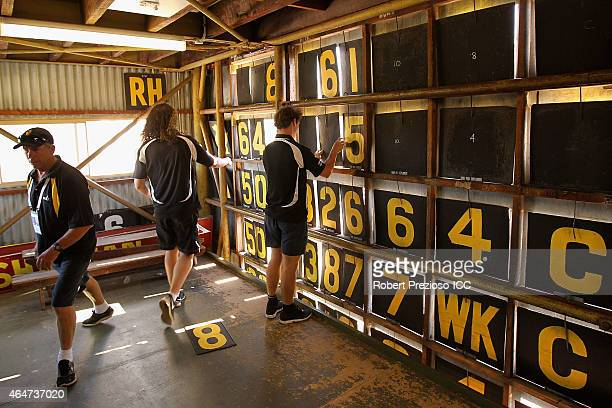 A general view behind the scenes of the scoreboard during the 2015 ICC Cricket World Cup match between India and the United Arab Emirates at WACA on...