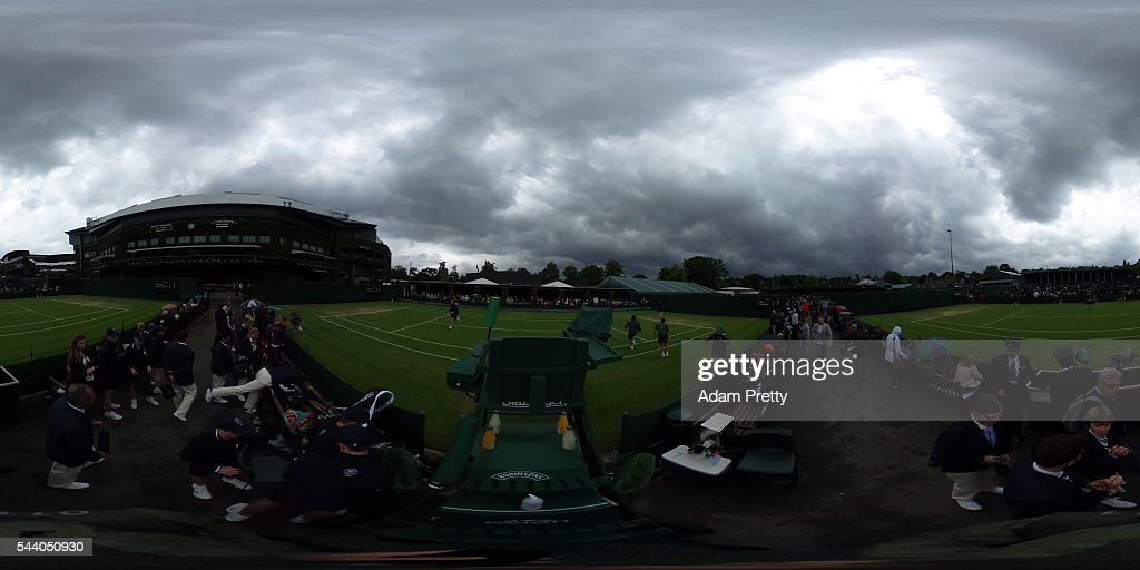 A general view between Court 6/7 on day five of the Wimbledon Lawn Tennis Championships at the All England Lawn Tennis and Croquet Club on July 1, 2016 in London, England.