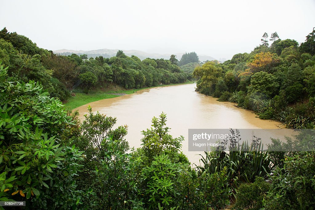 A general view Cannons Creek after heavy rain caused flooding on May 5, 2016 in Porirua, New Zealand. Severe rain warnings have been issued for the bottom of the North Island, and and several schools and parts of the city have been closed due to surface floosing