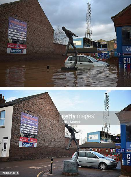 COMPOSITE IMAGE In this composite a comparison has been made between Carlisle United football ground photographed on December 7 2015 and on December...