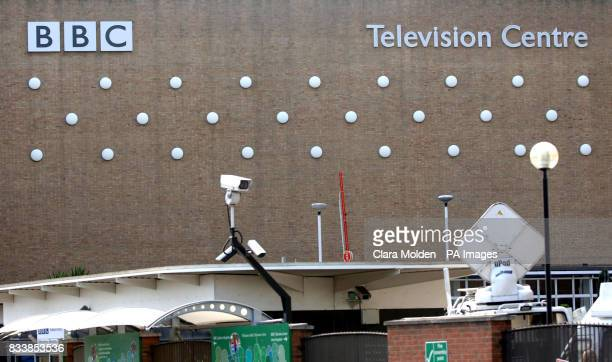 General view CCTV cameras and satellite dishes outside the exterior of the BBC Television centre in White City West London