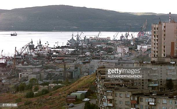 General view dated 23 August 2000 of the northern port of Murmansk in Kol'skiy peninsula on the Barents Sea Murmansk and the port of Severodinsk on...