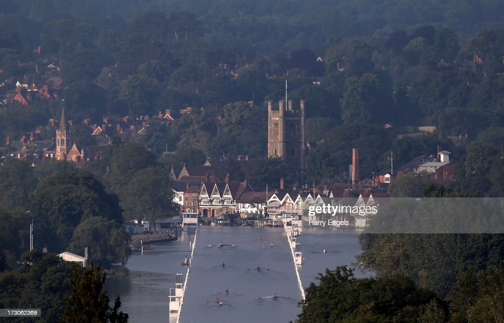 A general view down the Henley straight as crews practice prior to racing on day four of the Henley Royal Regatta on July 6, 2013 in Henley-on-Thames, England.