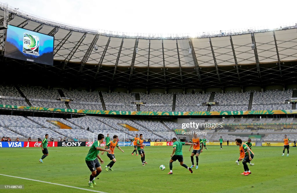A general view during a Brazil training session ahead of their FIFA Confederations Cup 2013 Semi Final match against Uruguay on June 25, 2013 in Belo Horizonte, Brazil.