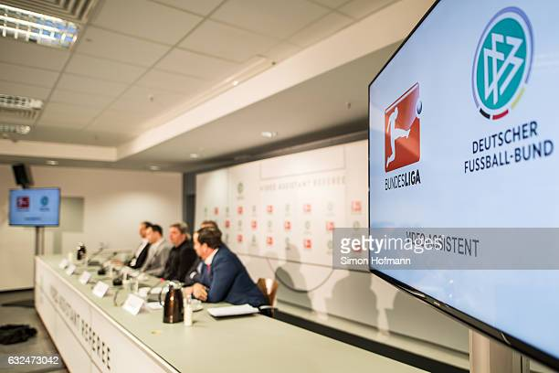 A general view during a DFB DFL Video Assistant Referee Press Conference at CommerzbankArena on January 23 2017 in Frankfurt am Main Germany