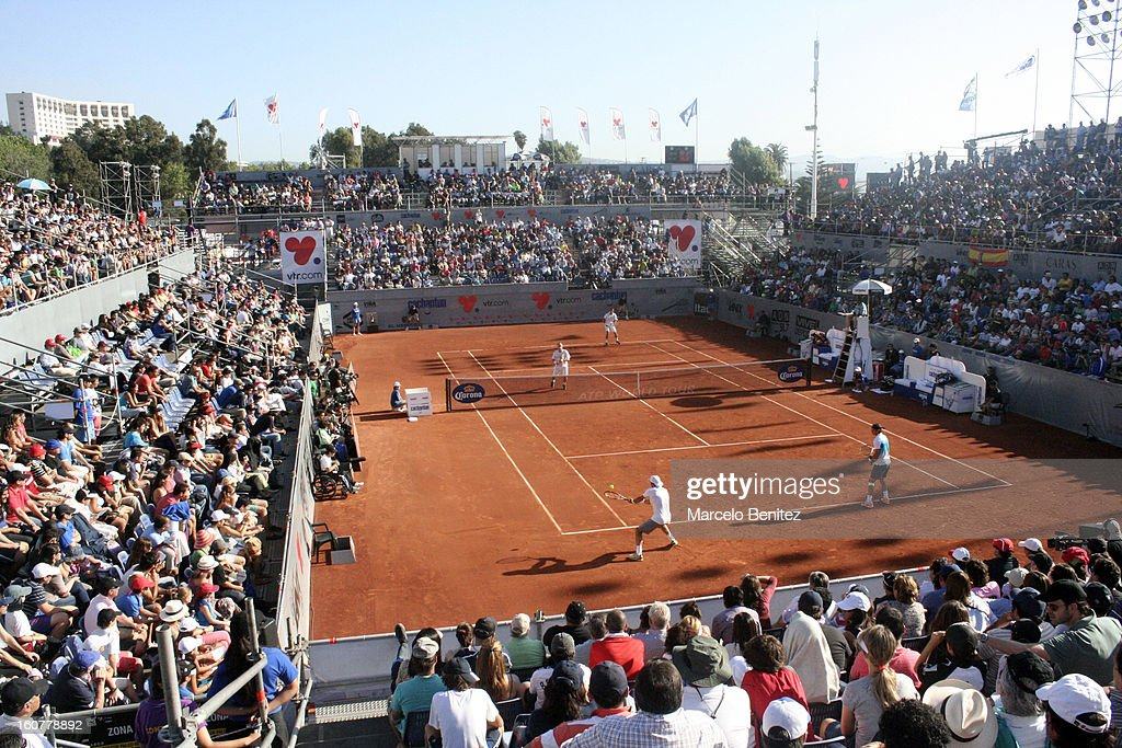 General view during a double tennis match between Rafael Nadal and Juan Mónaco against Frantisek Cermak and Lukas Dlouhya of Czechoslovak as part of...