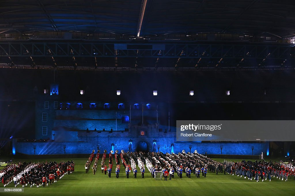 A general view during a dress rehearsal for the Royal Edinburgh Military Tattoo at Etihad Stadium on February 11, 2016 in Melbourne, Australia. The performance features a full size replica of the Edinburgh Castle and over 1200 international and Australian performers including the Massed Pipes and Drums of Scotland's famous regiments.