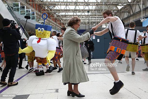 General view during a Flash Bob To Promote The UK Release of The Spongebob Movie Sponge Out Of Water at Waterloo Station held on March 16 2015 in...
