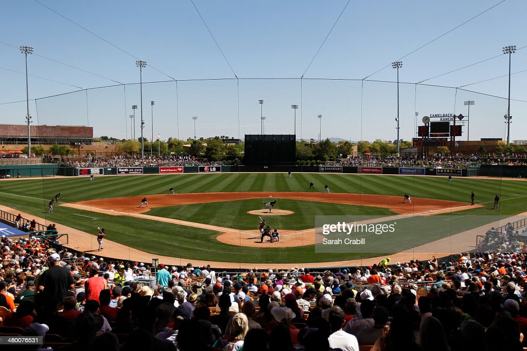 A general view during a game between the Chicago White Sox and the San Francisco Giants at Camelback Ranch on March 22 2014 in Glendale Arizona