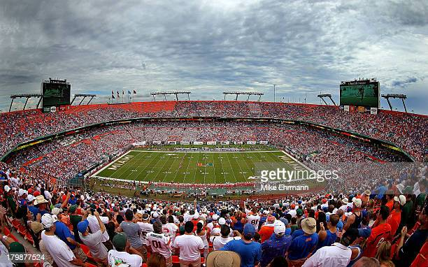 A general view during a game between the Miami Hurricanes and the Florida Gators at Sun Life Stadium on September 7 2013 in Miami Gardens Florida