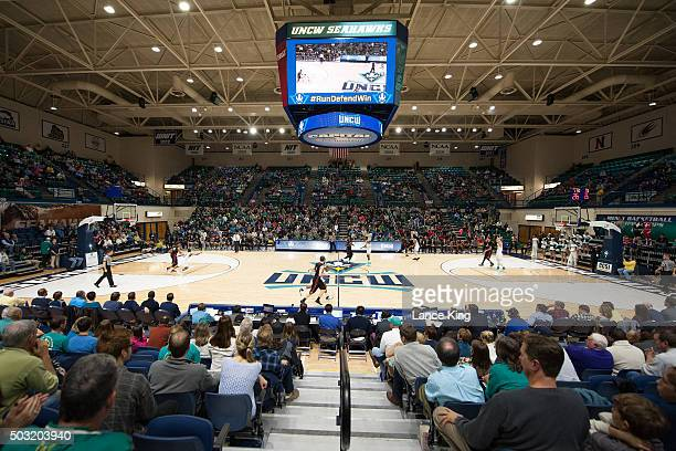 A general view during a game between the Northeastern Huskies and the North CarolinaWilmington Seahawks at Trask Coliseum on January 2 2016 in...