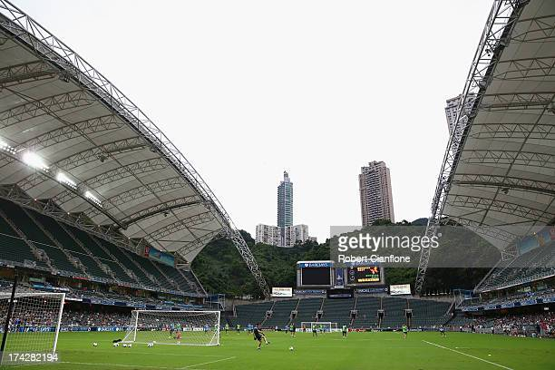 A general view during a Mancester City Barclays Asia Trophy training session at Hong Kong Stadium on July 23 2013 in So Kon Po Hong Kong