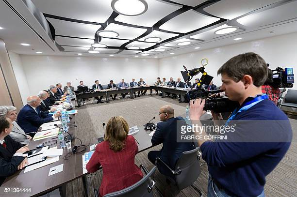 General view during a meeting of the Syrian opposition body with UN Syria envoy on Syria peace talks at the United Nations Office on April 15 2016 in...