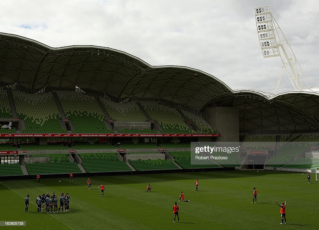 A general view during a Melbourne Victory A-League training session at AAMI Park on February 28, 2013 in Melbourne, Australia.