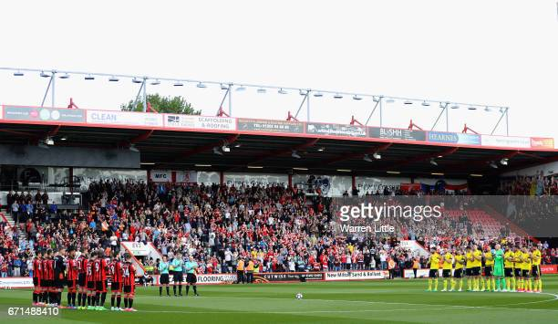 A general view during a minutes applause prior to the Premier League match between AFC Bournemouth and Middlesbrough at the Vitality Stadium on April...