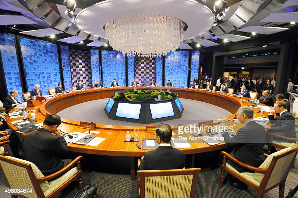 A general view during a plenary session of the Asia Pacific Economic Cooperation on November 19 2015 in Manila Philippines AsiaPacific leaders are...