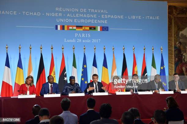 A general view during a press conference after the multinational meeting at Elysee Palace on August 28 2017 in Paris France During the meeting they...
