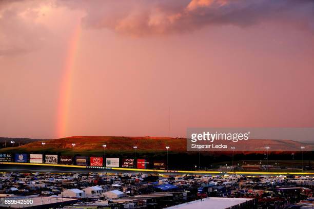 General view during a rain delay at the Monster Energy NASCAR Cup Series CocaCola 600 at Charlotte Motor Speedway on May 28 2017 in Charlotte North...