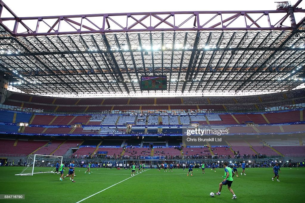 A general view during a Real Madrid training session on the eve of the UEFA Champions League Final at Stadio Giuseppe Meazza on May 27, 2016 in Milan, Italy.