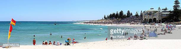A general view during a sharkcull protest at Cottesloe Beach on February 1 2014 in Perth Australia The Western Australian government has introduced a...