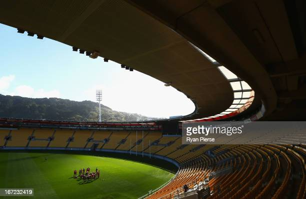 A general view during a Sydney Swans AFL training session at Westpac Stadium on April 23 2013 in Wellington New Zealand Sydney will play StKilda on...