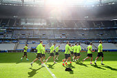 General view during a team Germany training session ahead of the UEFA EURO 2016 Group C match between Germany and Poland at Stade de France on June...