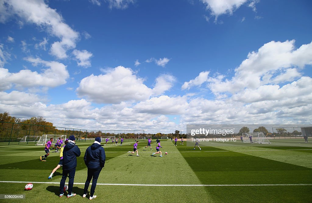 A general view during a Tottenham Hotspur training session at the club's training ground on April 29, 2016 in Enfield, England.