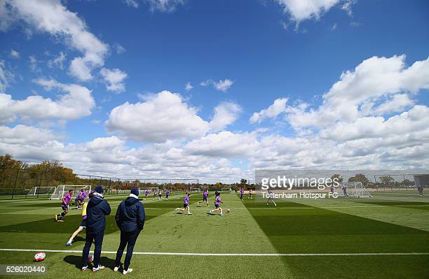 A general view during a Tottenham Hotspur training session at the club's training ground on April 29 2016 in Enfield England