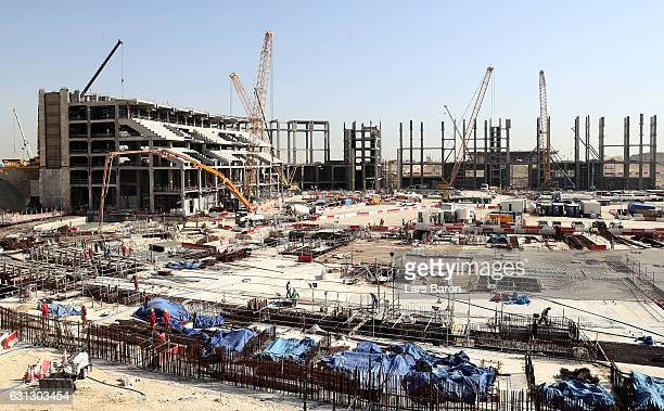 A general view during a tour at the construction site of the Al Bayt Stadium and the workers accommodation on January 9 2017 in Doha Qatar Al Bayt...