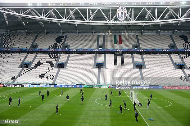 General view during a training session of FC Bayern Muenchen ahead of their UEFA Champions League quarterfinal match against Juventus Turin at...