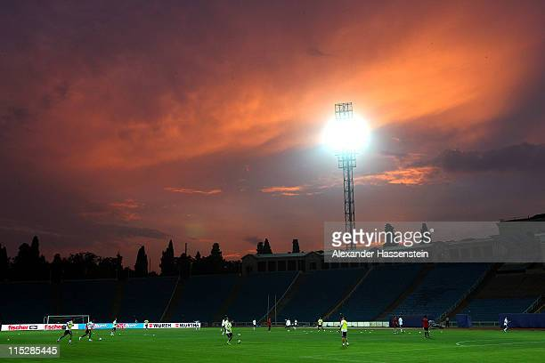 General view during a training session of team Germany ahead of their UEFA EURO 2012 qualifying match against Azerbaijan at TofigBahramovStadium on...