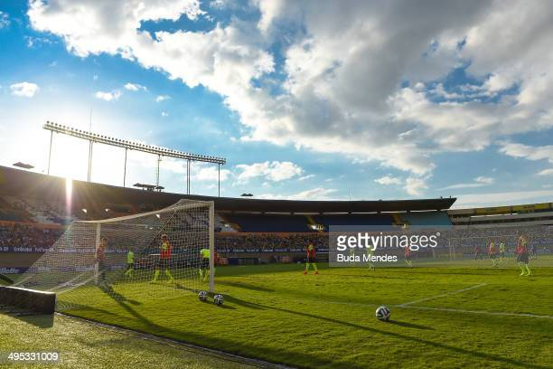 General view during a training session of the Brazilian national football team at the Serra Dourada Stadium on June 02 2014 in Goiania Brazil