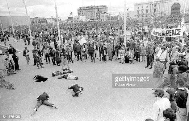 General view during an Anti War Demonstration at City Hall circa March 1969 in San Francisco California