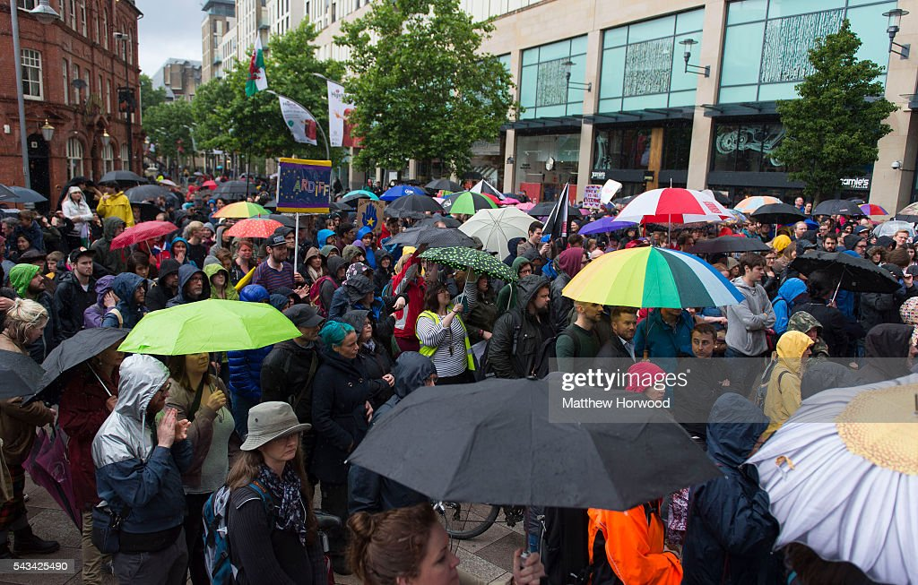 A general view during an anti-Brexit rally on June 28, 2016 on the Hayes in Cardiff, Wales. The protest is at a time of economic and political uncertainty following the referendum result last week, which saw the UK vote to leave the European Union.